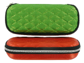 hranaté XL pouzdro na sluneční brýle na zip - mřížka - zelená