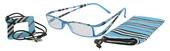 Lehké čtecí brýle FANCY s přívěskem a pouzdýrkem - MODRÉ