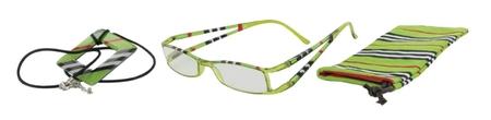 Lehké čtecí brýle FANCY s přívěskem a pouzdýrkem - ZELENÉ