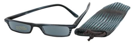 Čtecí brýle ECONOMY HIP s pouzdýrkem model 983 - ČERNOMODRÉ se slunečními čočkami