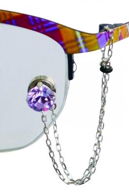 šperk na brýle Crossfor STŘÍBRO 925ST + Swarovski krystal, barva AMETYST