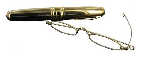 čtecí brýle úzké ve zlatém pouzdře ve tvaru doutníku